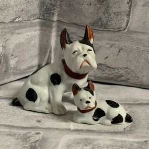 French Bulldog Figurines Occupied Japan Mom & Pup